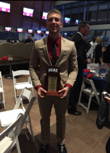 Mike Knight with ECAC Division 3 South Offensive Newcomer of the Year Award for 2015